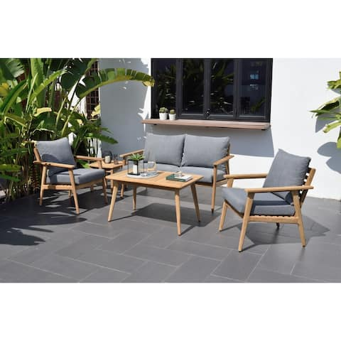 Nordic 5-Piece Patio Teak Wood Conversation Set