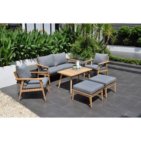 Nordic 6-Piece Patio Teak Wood Conversation Set