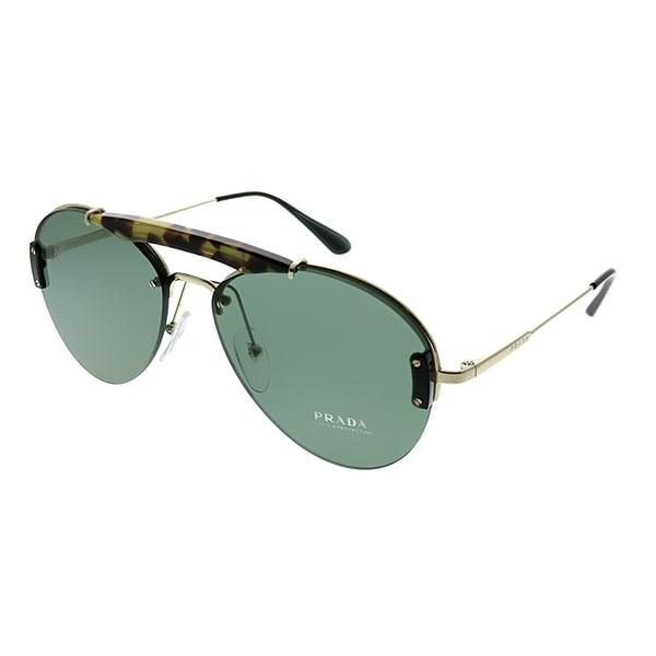 54dfd3c00ceb Prada Lifestyle Havana Unisex Medium Pale Gold Frame Light Green Lens  Sunglasses