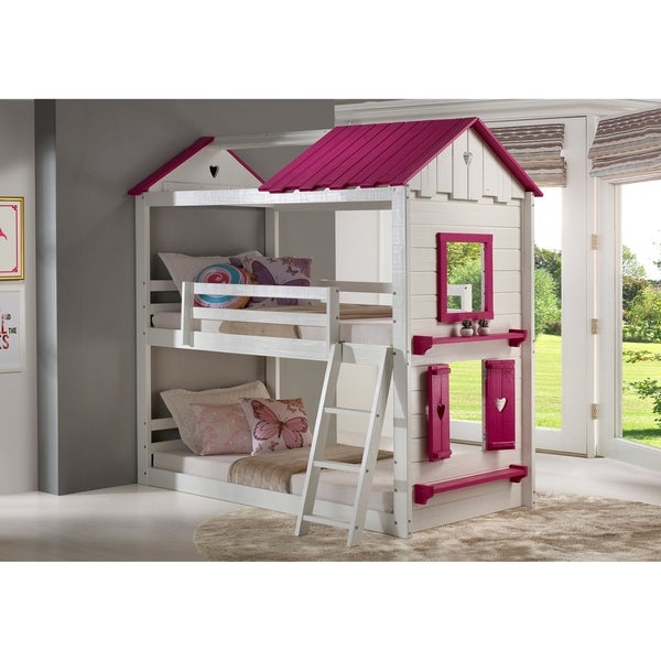 Twin over Twin Sweetheart Bunk Bed in Pink and White