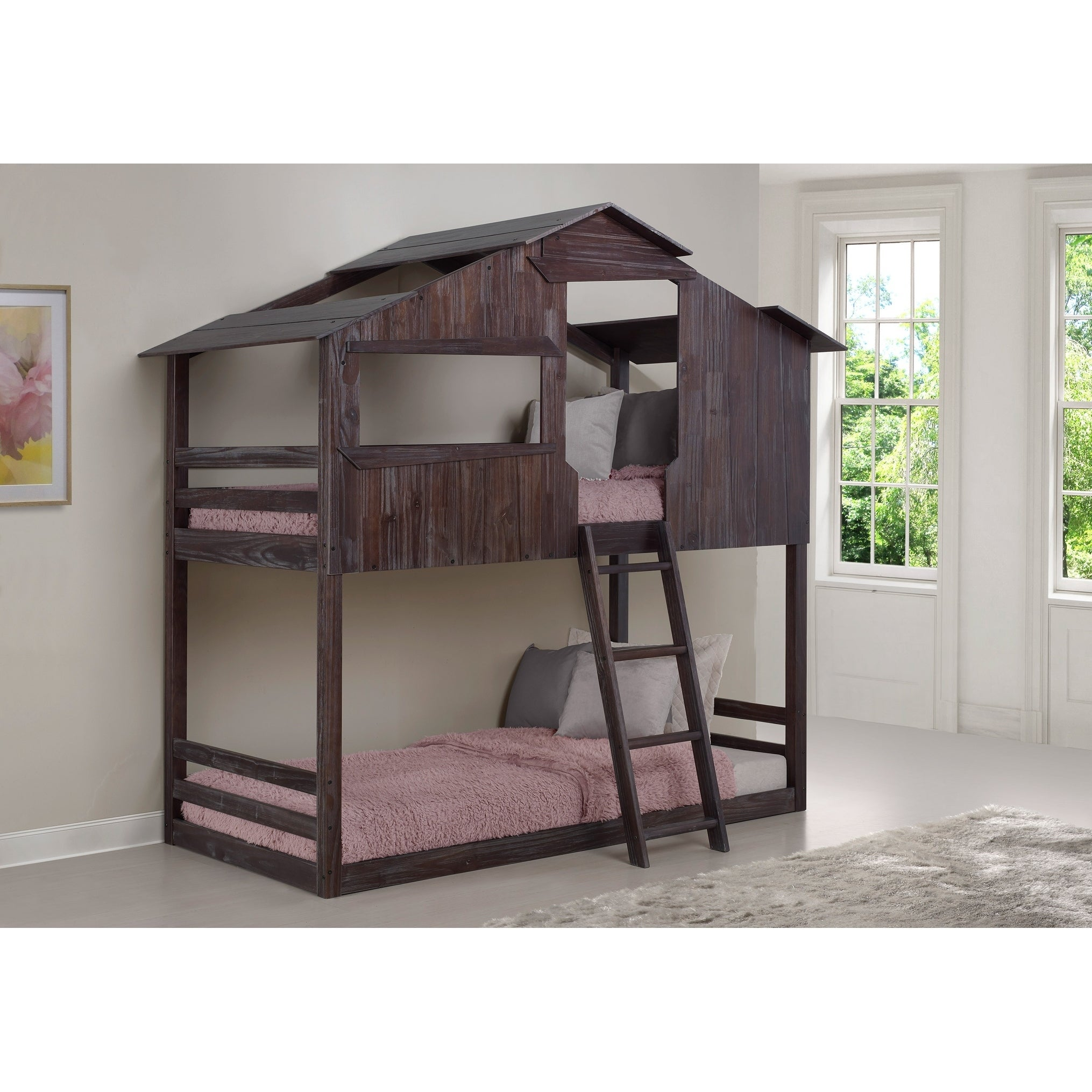 Twin Over Twin Fort Bunk Bed In Rustic Brown Overstock 28167451