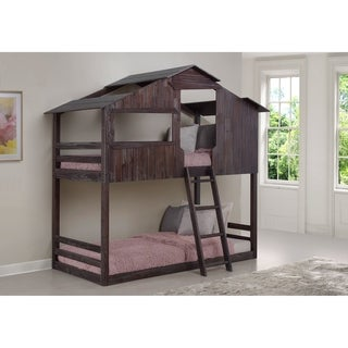 Twin over Twin Fort Bunk Bed in Rustic Brown