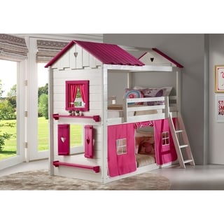 Twin over Twin Sweetheart Bunk Bed in White and Pink with Pink Tent