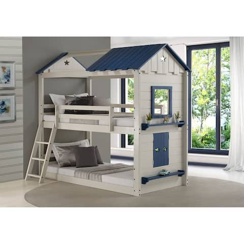 Star Gaze Grey/ Blue Twin-over-Twin Bunk Bed