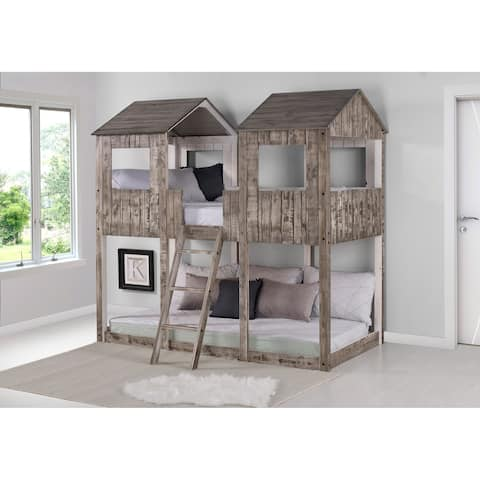 Twin over Twin Tower Bunk Bed in Rustic White