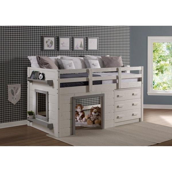 Sweet Dreams Twin-size White/Grey Low Loft Bed