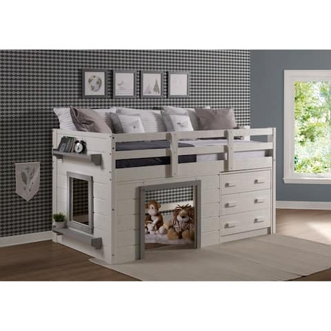 Sweet Dreams Low Loft in White and Grey Size - Twin