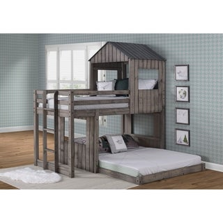Twin over Full Campsite Loft Bed in Rustic Dark Grey