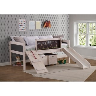 Taylor & Olive Gardenia White Wash Twin Low-loft Bed with Toy Boxes