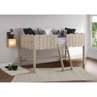 Twin Picket Fence Low Loft in Rustic Sand with Optional Drawers