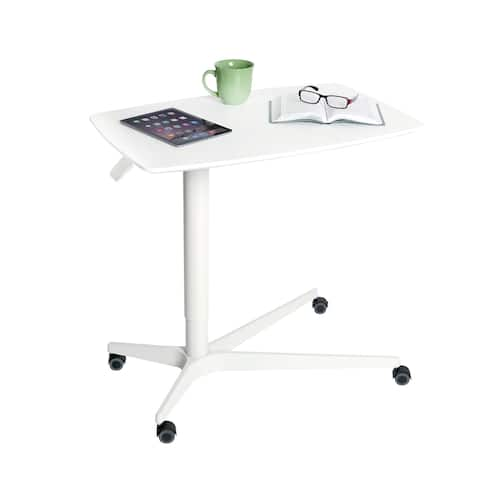 AIRLIFT White 30 in. Overbed Bedside Medical Height Adjustable Mobile Side Table Cart