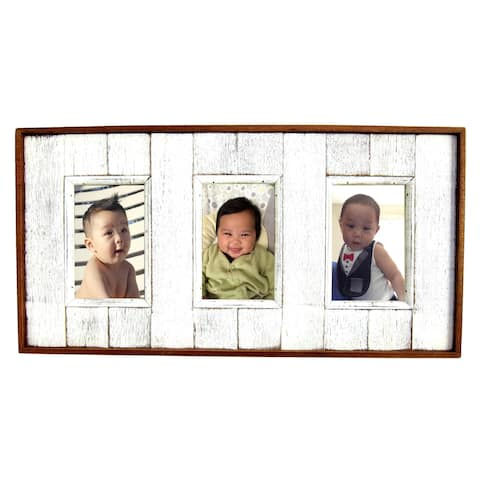 """Handmade Shabby Boatwood 3 Picture Frame - 4"""" x 6"""" (Thailand)"""
