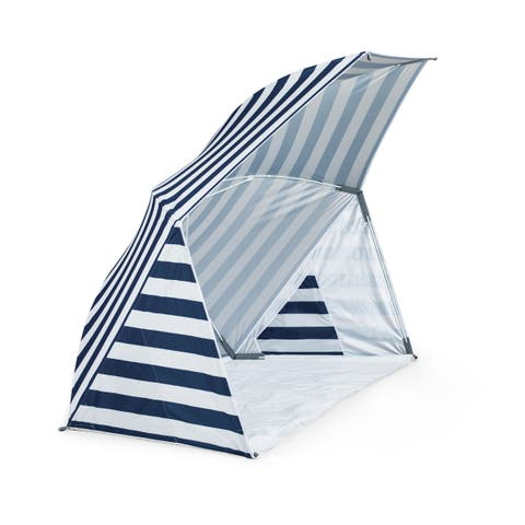 Brolly Beach Umbrella Tent, (Navy and White Stripe)
