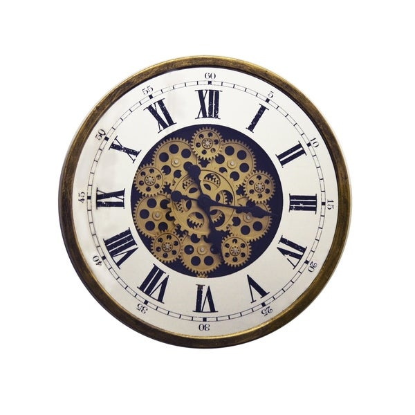 Antique Gold & Mirror Metal Wall Clock Moving Gears & Roman Numerals