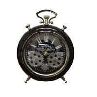 Moving Gears Black Metal Table Clock Pocket Style Roman Numerals Battery Operated