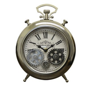Moving Gears Silver Metal Table Clock Pocket Style Roman Numerals Battery Operated