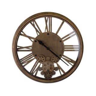 Moving Gears Antique Gold Steampunk Style Metal Wall Clock Roman Numerals