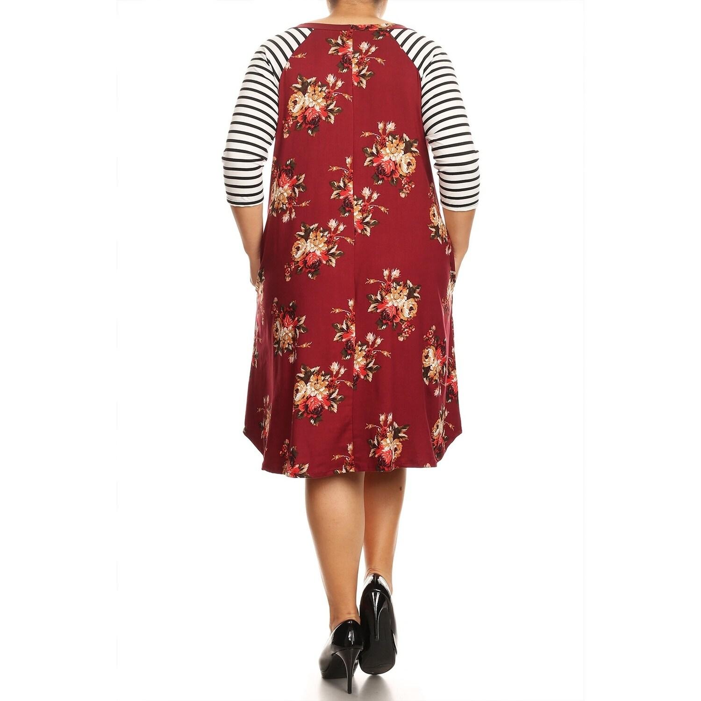 Women\'s Casual Pattern Print Plus Size Striped Loose Fit Pockets Midi Dress