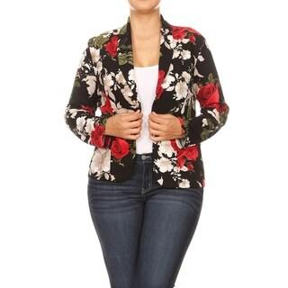 Women's Casual Pattern Print Long Sleeve Open Front Plus Size Blazer Jacket