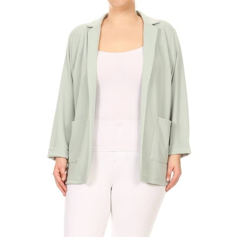 Women's Solid Long Sleeves Pocket Open Front Casual Plus Size Blazer Jacket