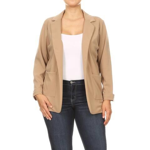 Women's Solid Long Sleeves Pocket Open Front Casual Plus Size Blazer Jacket