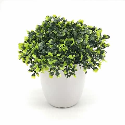 Enova Home Artificial Boxwood Grass in Round Decorative Vase - Green