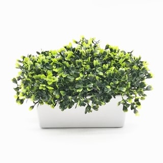 Enova Home Artificial Boxwood Grass in Decorative Vase For Home Office Decoration - Green