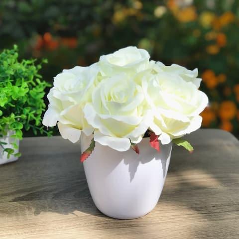 Enova Home Silk Rose Flower Arrangement in White Pot For Home Office Decoration