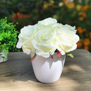 Enova Home Silk Rose Flower Arrangement in White Pot For Home Office Decoration