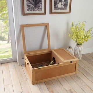 Tortoise House with Wire Top & Wooden Handle,Pet Cage by Unipaws - N/A