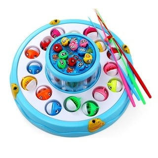 Double Flash Fishing Game Toy Set Electronic Magnetic Rotating Fishing Board