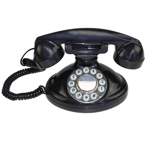 Black Retro Style Push Button Dial Single Line Corded Phone