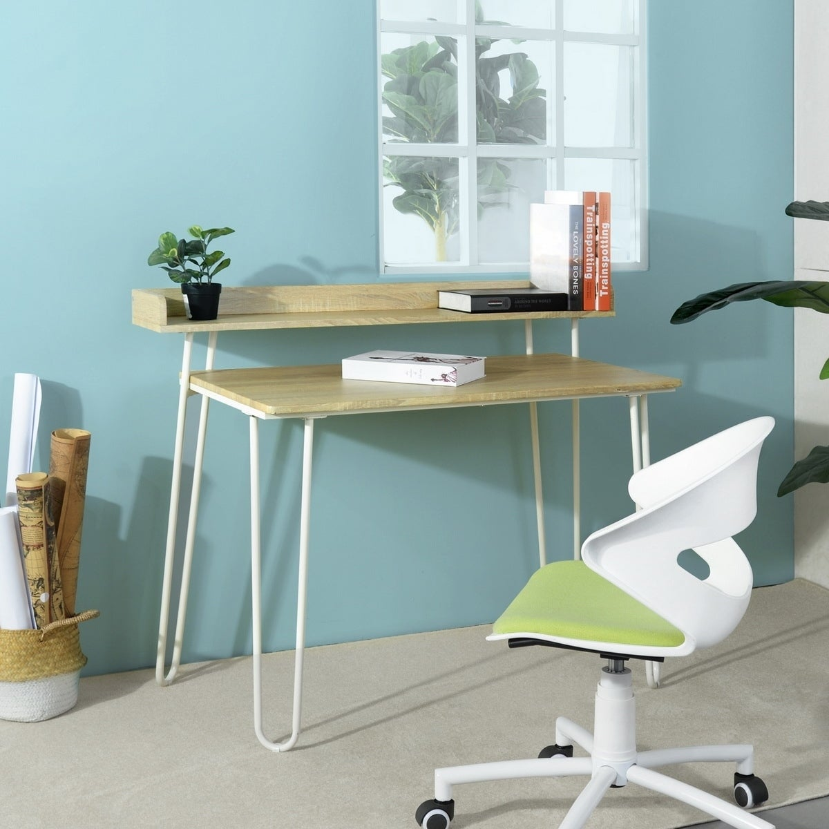 Furniturer Computer Desk With Riser Shelf Organizer For Home Study Room