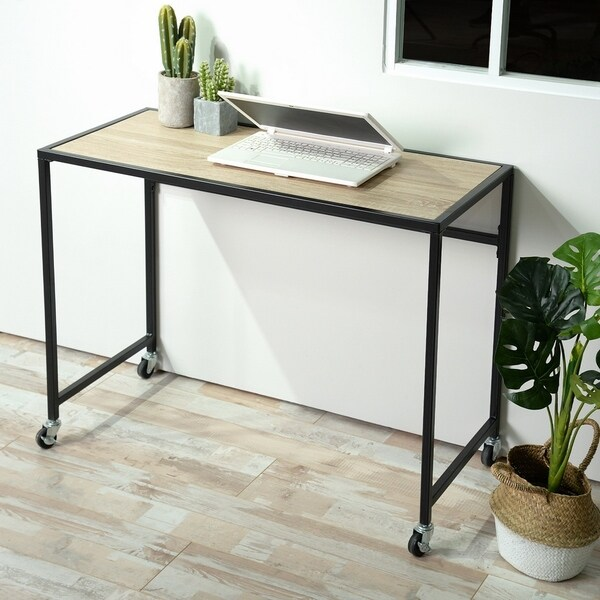 Walnut Wooden Top Console Table with Wheels