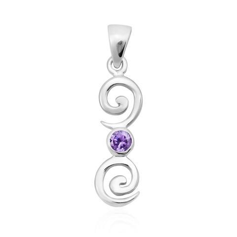 Handmade Cute Swirl Bar Cubic Zirconia .925 Silver Pendant (Thailand)
