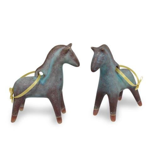 Handmade Horses of Winter Celadon ceramic ornaments (Thailand)
