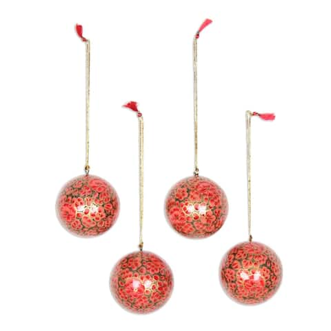 Handmade Kashmir Blossom Papier mache ornaments (India)