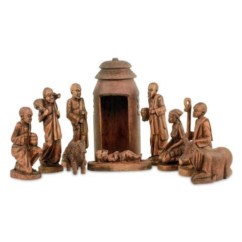 Handmade Divine Birth in Africa Mahogany nativity scene set of 11)(Ghana)