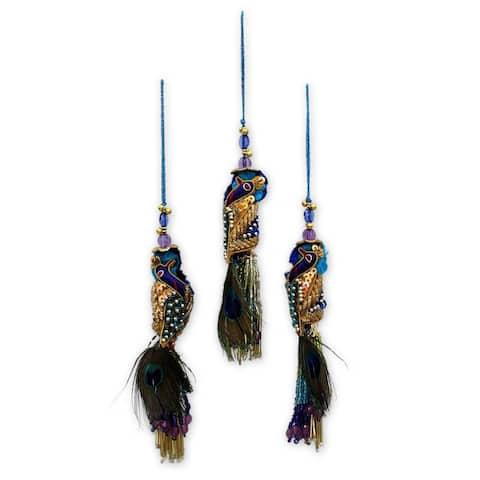 Handmade Royal Peacock Beaded ornaments (India)
