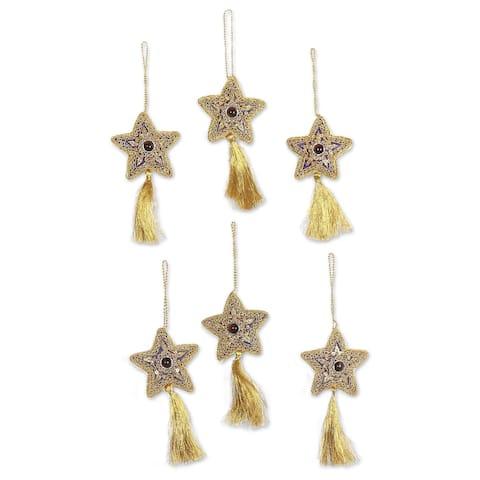 NOVICA Handmade Purple Song Glass beaded ornaments (India)