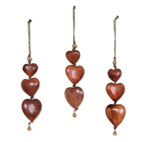 Handmade Joyous Hearts Wood Ornaments (India)