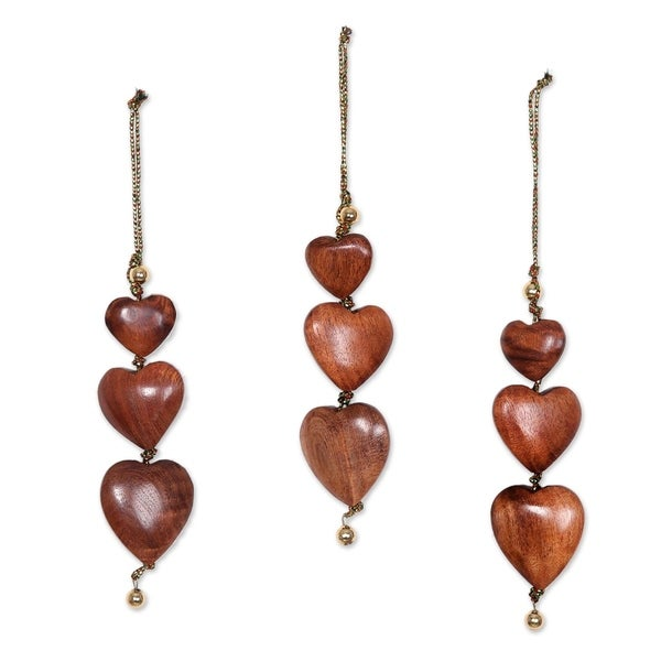 Joyous Hearts Wood ornaments