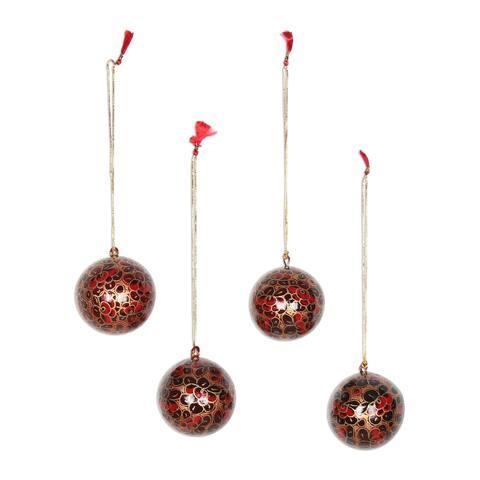 Handmade Bauble Blossoms Papier Mache Ornament, Set of 4 (India)