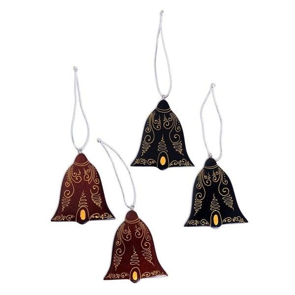 Handmade Joyful Tolling Mahogany wood ornaments (set of 4)