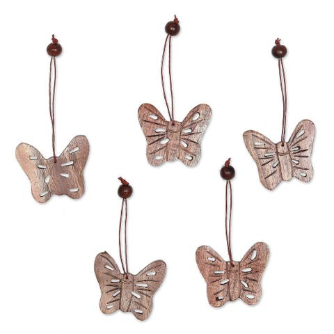 Handmade Butterfly Holiday Wood ornaments (set of 5)