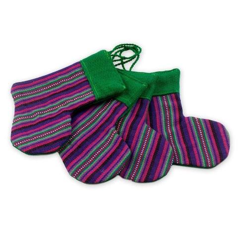 Handmade Purple Stockings Cotton ornaments (set of 4)