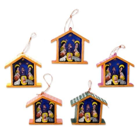 Handmade Huts Ornaments (set of 5)