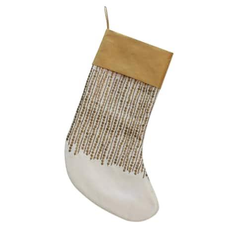Handmade Golden Christmas Beaded Christmas stocking (India)