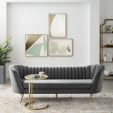 Silver Orchid Adams Vertical Channel Tufted Curved Velvet Sofa