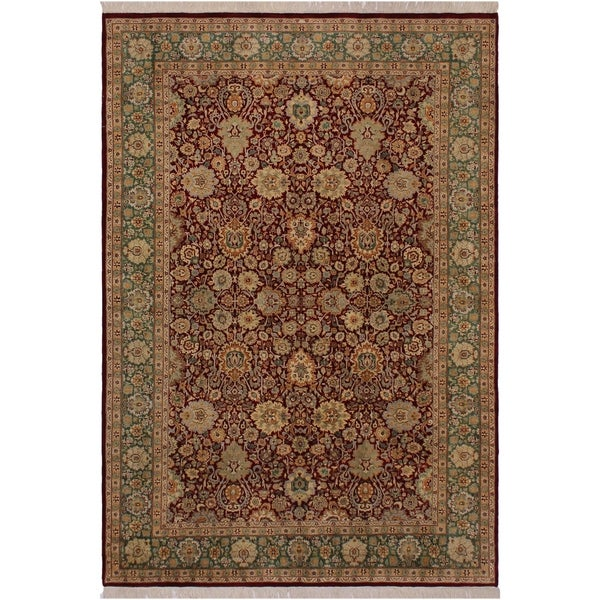 "Lahore Pak-Persian Blythe Red/Green Wool Rug (6'2 x 8'11) - 6'2"" x 8'11"""